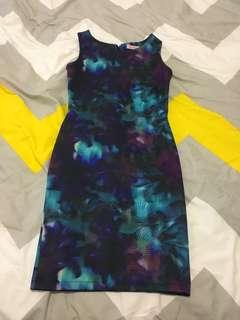 Supre blue purple black palm tree semi formal dress XXS