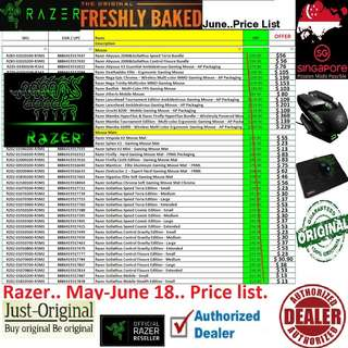 "Razer mouse..... to mousePad...... Price List...   Interested...!! ""Start Order Today or Walk in Direct for Cheaper Offer rate"" (June 2018 #price list ) # PRICE LIST# ""From $13-$369...."" ( Near Thomson Area)"