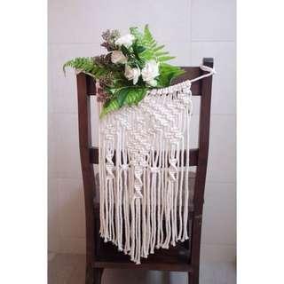 Wedding chair macrame decor