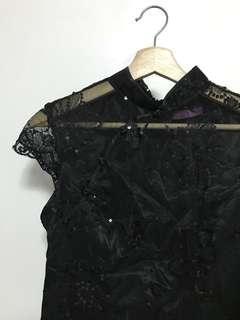 The Cheongsam Shoppe - Black Floral Sequined Cheongsam