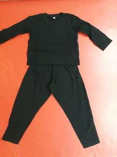 Kaos panjang polos hitam set