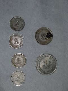 Old Coins Singapore 5 , 10, 20 cents