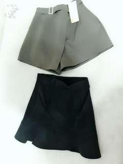 蕾絲蝴蝶結黑色短裙 軍綠色雪紡造型褲裙