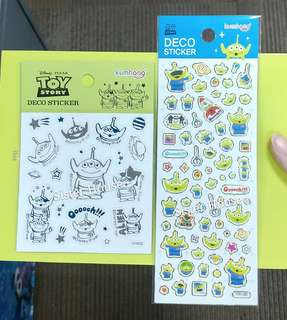 (包郵2張)🇰🇷Disney Toy Story Alien Deco Sticker 廸士尼反斗奇兵三眼仔貼紙2張