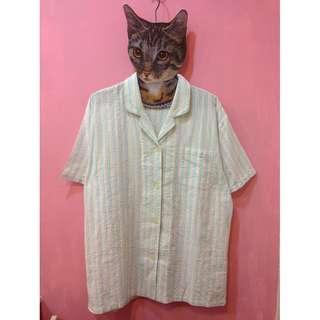 [彩色櫥窗]古著粉彩虹色短袖襯衫外罩