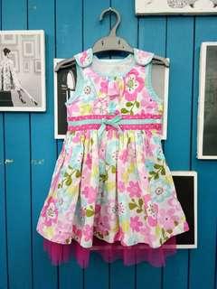 Pink flower tulle dress