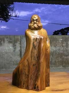 🚚 胡權雕刻紅檜樹根達摩