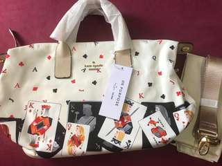 Authentic Overruns Kate Spade Classic weekender nylon beige with Cards design