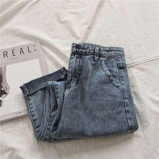 夏日清新水洗淺藍刷色牛仔九分褲