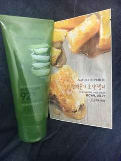 Nature republic aloevera 250 ml tube FREE masker