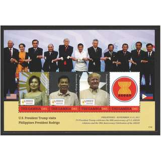 GAMBIA 2017 PRESIDENT TRUMP VISIT TO PHILIPPINES ASEAN SUMMITS SOUVENIR SHEET OF 3 STAMPS IN MINT MNH UNUSED CONDITION