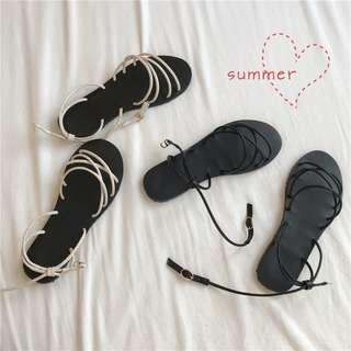 兩色/夏日羅馬平底涼鞋