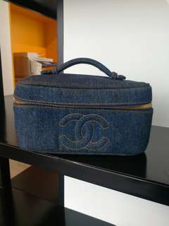 Authentic Vintage Chanel vanity denim bag