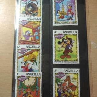 迪士尼故事郵票--ANGUILLA--聖誕故事--保真。