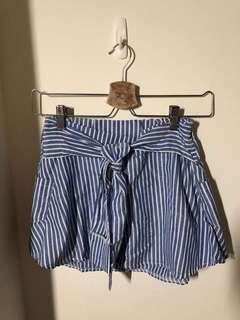 🚚 全新 / 假兩件顯瘦條紋棉麻褲裙/有口袋(藍 均碼 鬆緊腰圍60-80 裙長30 褲長27