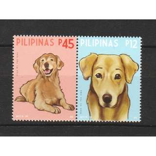 PHILIPPINES 2017 ZODIAC LUNAR NEW YEAR OF DOG COMP. SET OF 2 STAMPS IN MINT MNH UNUSED CONDITION