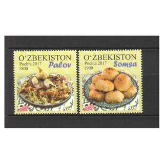 UZBEKISTAN 2017 NATIONAL CUISINE COMP. SET OF 2 STAMPS IN MINT MNH UNUSED CONDITION