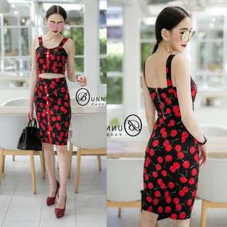 Cherry set crop top and skirt (cherry)