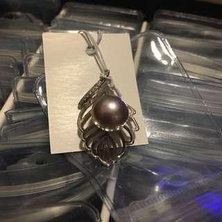 天然淡水珍珠s925純銀銀葉吊墜