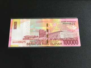Indonesia Rupiah $100000 with 999 625