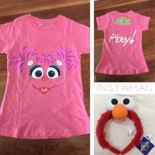 Abby's top and elmo headband