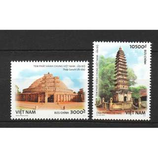 VIETNAM 2018 ANCIENT ARCHITECTURE JOINT ISSUE WITH INDIA COMP. SET OF 2 STAMPS IN MINT MNH UNUSED CONDITION