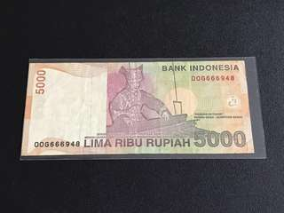Indonesia Rupiah $5000 with OOG 666