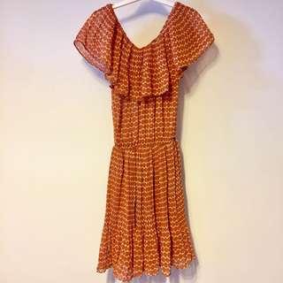 Offshoulder chiffon one piece dress