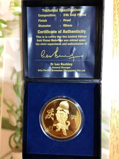 Gold Plated Coin Zodiac Monkey