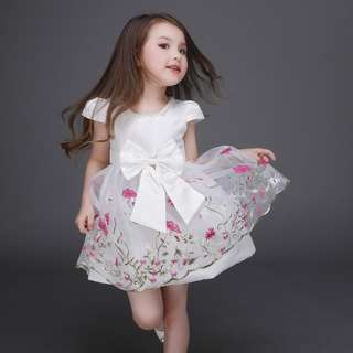 (Ready Stock) Kids Princess Dress (White Flower) #497
