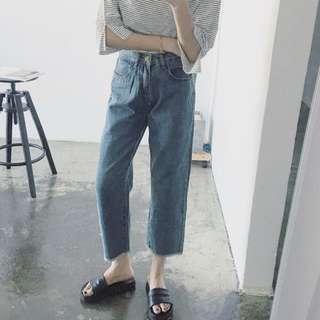 🚚 牛仔長褲M(扣子不見,需自縫)