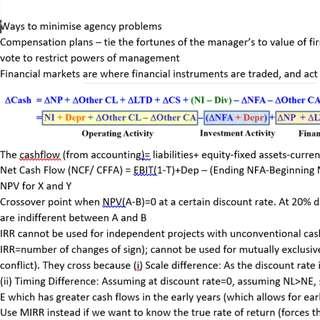 [2 Pages] Cheatsheet NUS FIN2004 Finance