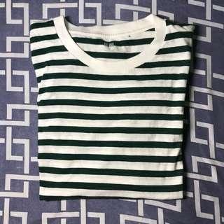 Uniqlo Green Stripes T-shirt