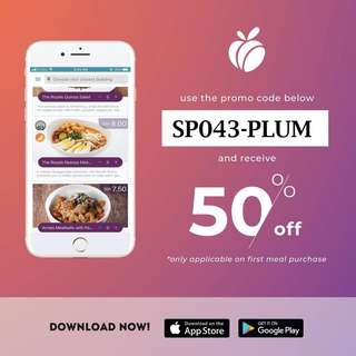 [PLUM Food] 50% OFF First Meal & Free Delivery