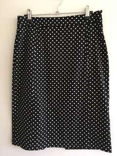 Revival B & W Polka Dot High Waisted Skirt