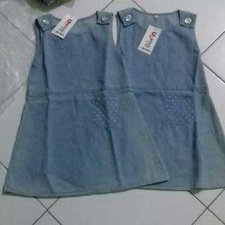 Dress anak lucu, size 4 bahan semi jeans