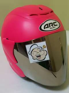 0206 ●● ARC RITZ Helmet Matt Pink v Chrome Visor Helmet For Sale 😁😁Thanks To All My Buyer Support 🐇🐇 Yamaha, Honda, Suzuki
