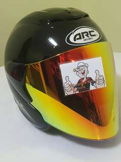 0206 ●● ARC RITZ Helmet Black v Gold Visor Helmet For Sale 😁😁Thanks To All My Buyer Support 🐇🐇 Yamaha, Honda, Suzuki