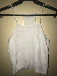 Knitted white sleeveless