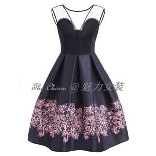 321 A Line High Waisted Vintage Dress (Black, Size: S to 4XL, Pre-order)