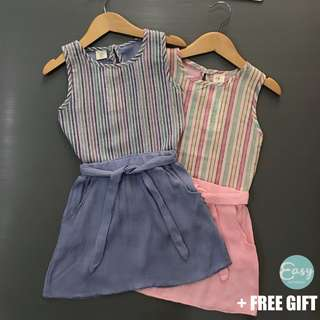 Kids Girl Casual Sleeveless Stripe Top with Skirt Set
