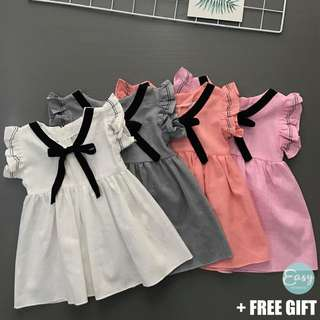 Kids Girl Dress with Front Ribbon