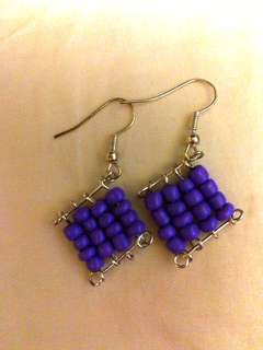 Handmade Purple Seed beads Dangling Earrings