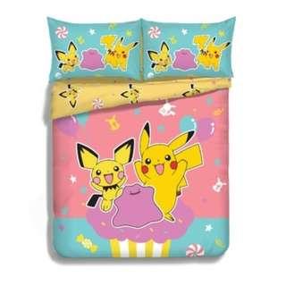 Yes Zone 卡通精品 寵物小精靈 比卡超 正版 單人/雙人 三件套床笠純棉被套四件套床單