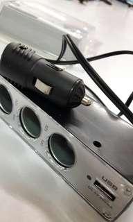 气車點煙器 3孔 1個USB接頭