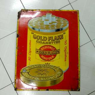Gold Flake Cigarettes Enamel Sign Vintage