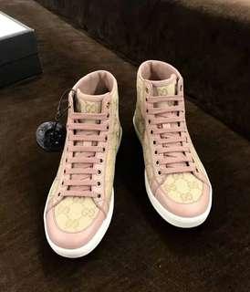 古馳專櫃款 正品 ~ 粉色 印花高筒 休閒女鞋 36/36.5