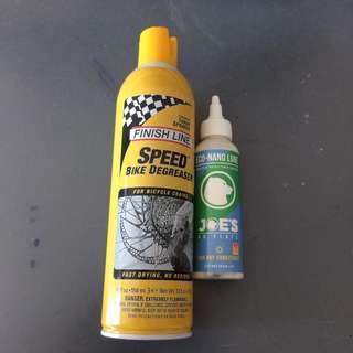Finish Line SpeedBike Degreaser and Joes Chain Lubricant