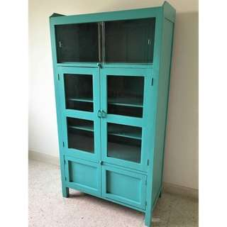 Vintage Tall Kitchen Cabinet Painted in Teal