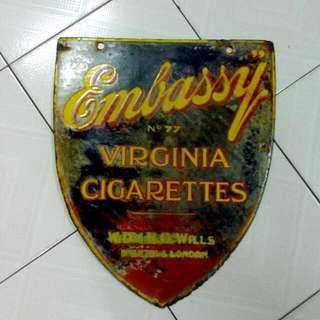Embassy No.77 Virginia Cigarettes Enamel Sign Vintage